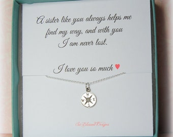 SISTERS Jewelry, Sister jewelry gift, Sister necklace, Gifts for sister, compass necklace, simple jewelry, Gift for sister with card
