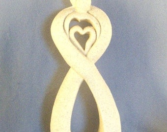 Lovers With Heart Sculpture // Ceramic // Sand Finish // Modernist // Contemporary // Stylized // Centered Heart