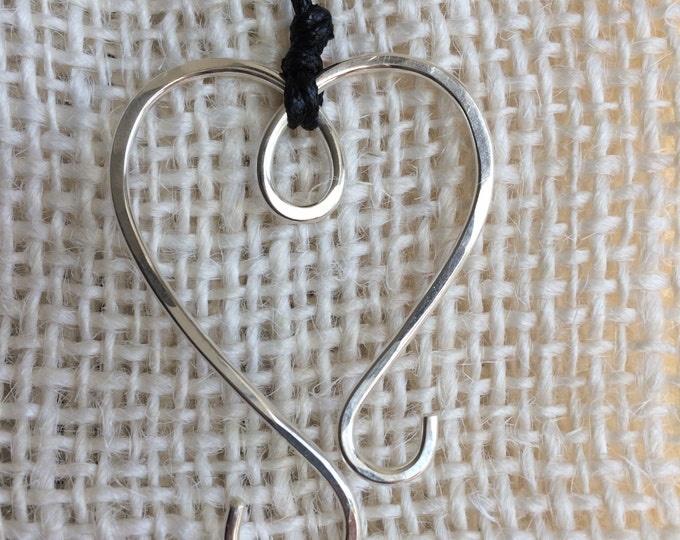 Pendant - Heart Necklace for Portuguese Knitting in Sterling Silver