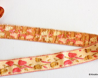 Beige, Brown And Pink Embroidery Lace Trim, Approx. 28mm Wide - 140316L98