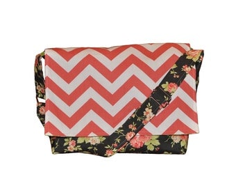 Black floral and Coral Chevron Camera and Messenger Bag