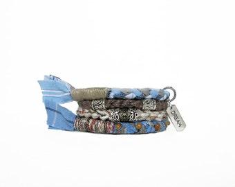 Light Blue Dream Bracelet, Fiber Hippie Bangles, Bohemian Bracelet, Boho Stacking Bracelet, Word Bracelet, Inspirational Jewelry