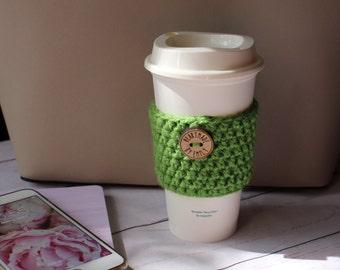 Crochet Coffee Cozy ~ Coffee Cozy ~ Reusable Coffee Cup Sleeve ~ Coffee Cozie ~ Green Cozy