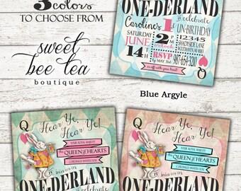 Boys Girls Alice in Wonderland First Birthday Invitation - Onederland Printable Invite - Tea Party - White Rabbit Queen of Hearts Mad Hatter