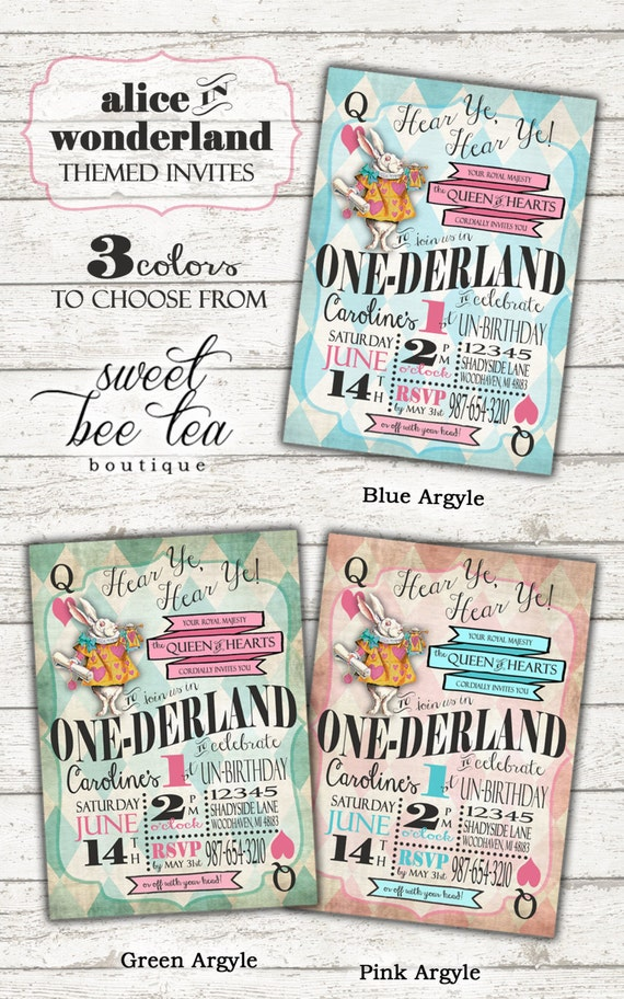 Alice in Wonderland First Birthday Invitation