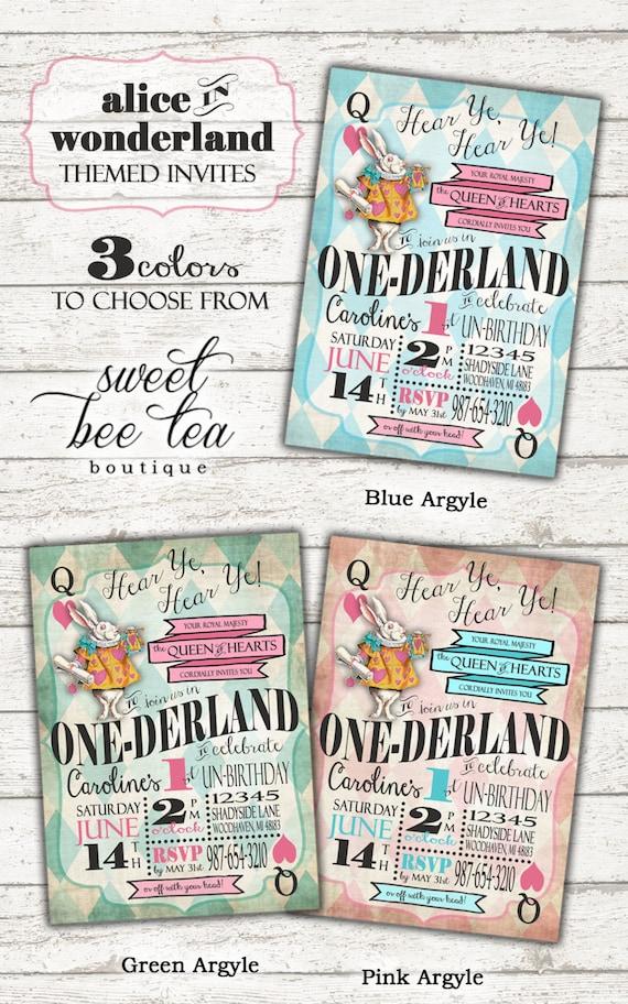 Alice in Wonderland First Birthday Invitation