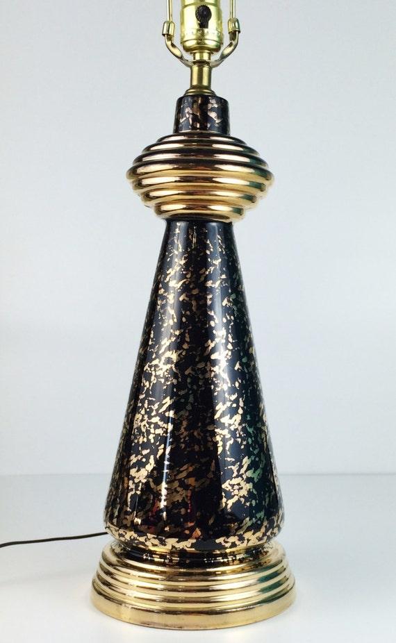 Vintage Mid Century Deena China Black Amp 24k Gold Splatter Dot