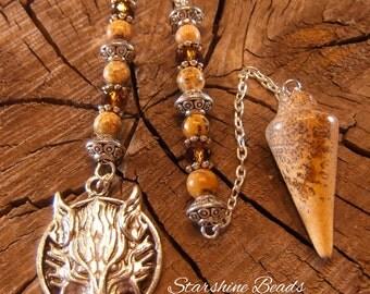Picture Jasper Wolf Pendulum - Picture Jasper Pendulum, Jasper Pendulum, Wolf Pendulum, Wolf, Wolves, Divination, Pagan, Wiccan, Jasper