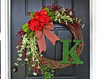 """The """"Grand"""" Christmas Wreath,  Valentines Wreath, Extra Large Wreath in Red and Green, French Country Wreath, Moss, Burlap and Hydrangeas"""
