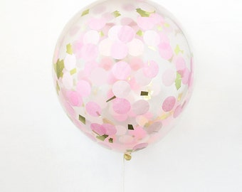 "16"" Clear Latex Confetti Balloon - Pink and Gold, Custom Balloon, Gold Balloon, Wedding Balloon"