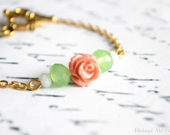 Mint Crystal Bracelet, Bridesmaid Bracelet, Coral Rose Bracelet, Gold Chain Bracelet, Flower Girl Bracelet, Flower Girl Gifts,Wedding Favors