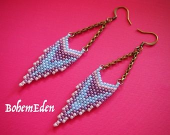 beadweaving tutorial: cascading chevrons seed bead brick stitch earrings. MUST HAVE working knowledge of brick stitch. download only.