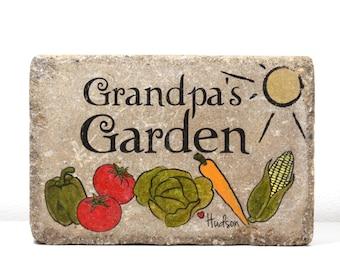 Grandpa Garden Stone with names. 6x9 Personalized GARDEN Stone. Rustic tumbled concrete paver. Fathers Day. Grandpa Gift. Garden Decor