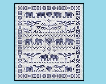 Elephant cross stitch pattern: modern sampler