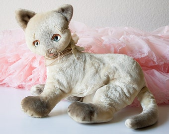 Vintage siamese cat stuffed toy Clare Creations plush kitty