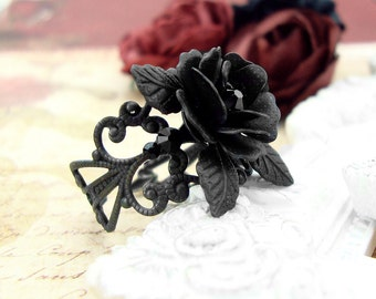 Black Rose Ring - Swarovski Black Filigree Ring - Victorian Gothic Jewelry Black Gothic Ring Romantic Gothic Ring - Black Rose Dark Jewelry