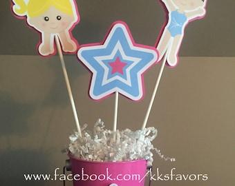 Gymnastics Party Centerpiece / Gymnast Centerpiece / Tumbling Party Centerpieces - 3 sticks PLUS pail