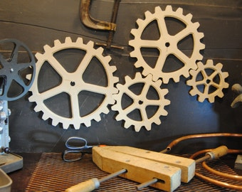 Steampunk Dacor - four gear set,.  Large gears, Wooden Gears, Wood Gears, Steampunk Ideas,  Industrial Wall Dacor