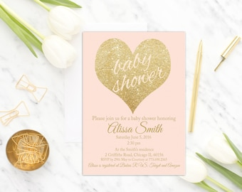 Blush Pink Baby Shower Invitation Printable, Girl Baby Shower Invite, Pink and Gold Baby Shower Invitation Template, Gold Glitter, soft pink