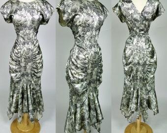 1980s satin floral dress, avant garde ruched short sleeve mermaid V neck & back 40s inspired dress, Large, 10