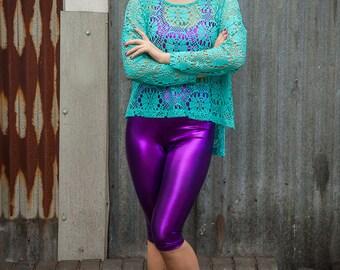 Foil Bike Shorts in Metallic Purple Lycra by Get Crooked