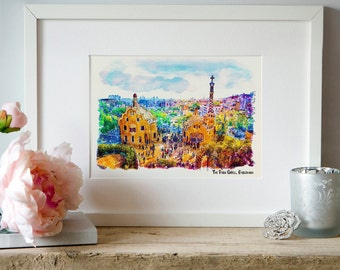 The Park Guell Barcelona Watercolor painting Wall art Gaudi Printable art Aquarelle City art Park Guell poster Barcelona decor Art gifts