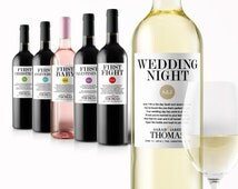 Wedding Milestone Wine Labels - Fun Wedding Gifts - Engagement Gift Celebrating Marriage Firsts - Wine Poems - Gift Ideas