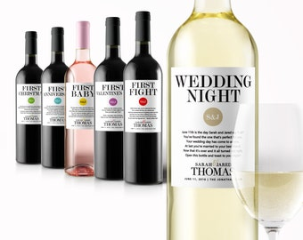 Wedding Milestone Wine Labels - A Year of Firsts Wine - Engagement Gift Celebrating Marriage Firsts - Wine Poems - Gift Ideas