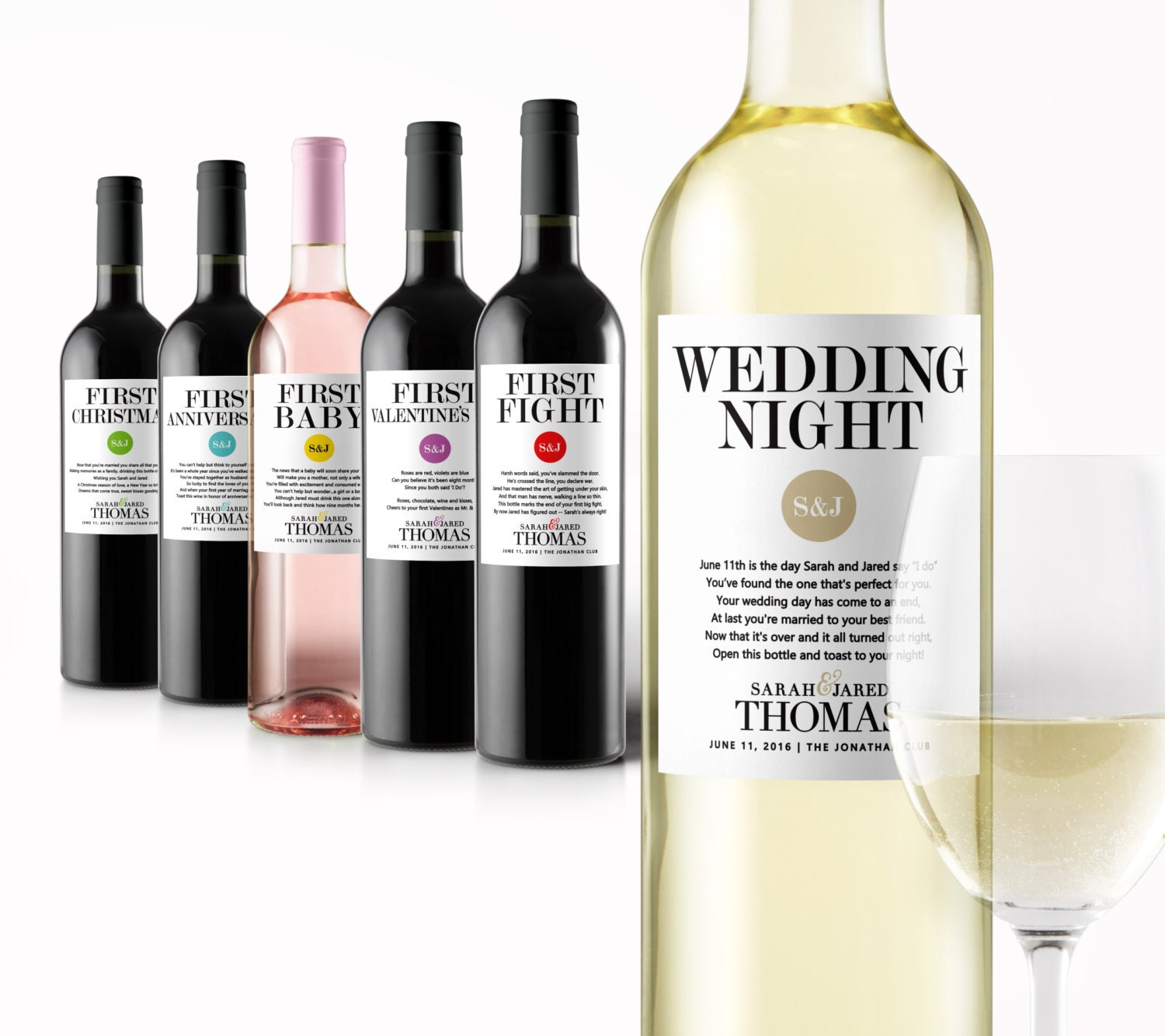 Wedding Milestone Wine Labels A Year Of Firsts Wine