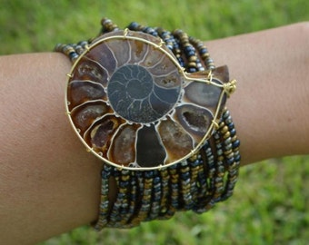 Wire wrapped ammonite cuff bracelet