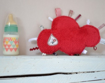 Doudou tags cloud cow and sheep - red, beige, taupe - bucolic - farm animals - birth gift - baby 3-12 months