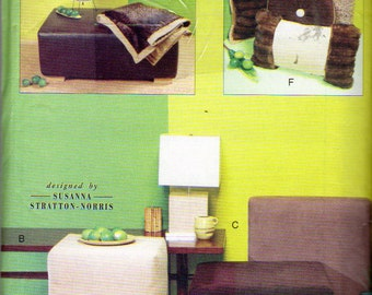 Vogue 7374, Vogue Patterns for Living, Ottoman Pattern, Floor Cube Pattern,  Floor Pillow Pattern, Sofa Throw Pattern, Uncut