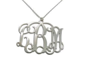 Christmas Sale - Monogram Initial Personalized Necklace 1.25 inch - Sterling silver 925. gift for her, monogram jewelry.