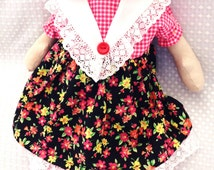 Cloth doll, handmade; An adorable  gift or a beautiful addition to your home and heart.