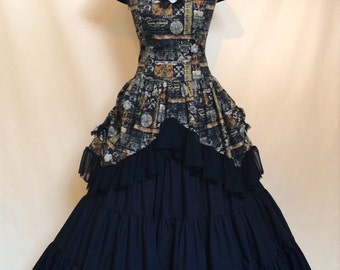 Sew Vintage...Goth Steampunk Victoriana Bustle Corset Dress With Full Length Black Cotton Petticoat
