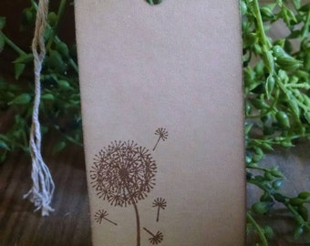 Make a wish, dandelion stamp, set of 12 gift tags