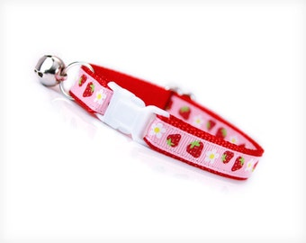 """Cat Collar - """"Strawberry Shortcake"""" - Red Berries on Pink - Breakaway Safety Buckle or Non-Breakaway - Sizes for Cat, Kitten, Small Dog"""