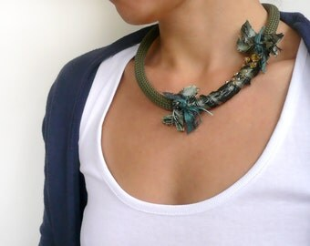 Rope necklace, Green necklace, Choker necklace, Chunky silk necklace, Statement necklace, Bohemian jewelry, Bohemian necklace, READY TO SHIP
