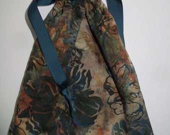 Teal Batik Lined Drawstring Fabric Gift Bag
