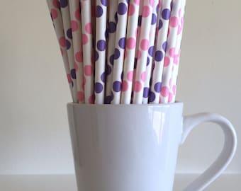 Pink and Purple Polka Dot Paper Straws Party Supplies Party Decor Bar Cart Cake Pop Sticks Mason Jar Straws Graduation