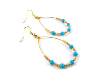 Tear Drop Wire-Wrapped Turquoise and Gold Beaded Dangle Earrings