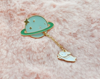 Cute Saturn Pastel Mint Green Bunny Rabbit Space Solar System Sparkle Star Dangle Planet Sci Fi Pin Badge