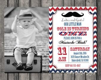 Mustache Birthday Invitation Digital Download