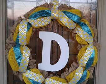 "18"" Natural Burlap Wreath w/ Yellow Burlap Ribbon & Two Accent Ribbons"