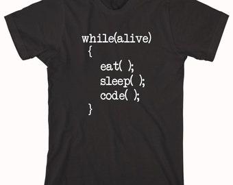 Eat Sleep Code Shirt (V.2)  - Gift Idea, Nerd, Coder, IT Support, Tech Support - ID: 734