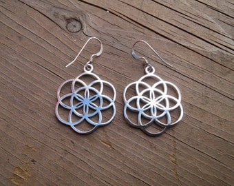 seed of life earrings in solid sterling silver - sacred geometry - flower of life earrings - silver earrings - mother's day gift
