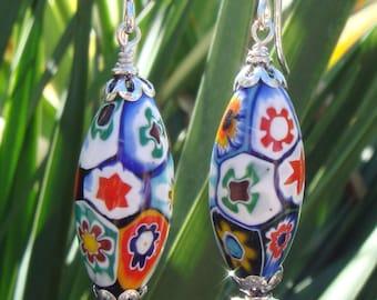 Vintage Venetian Millefiori Bead Earrings, Millefiori Earrings, Wire-wrapped Earrings, Dangle Earrings