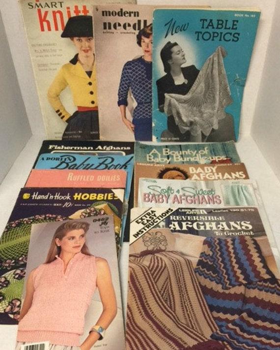 Knit Crochet Pattern Books, Bundle, Sweater Patterns, Doily Patterns, Afghan Patterns, Baby Patterns,