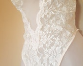 Vintage 90's Seductive Wear White Lace Sheer One Piece Leotard Thong / Size Large