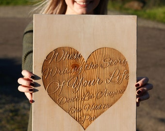 Write Your Story Rustic Sign with your own etched message on the back, Inspirational Sign, Wood Sign, Wedding Gift